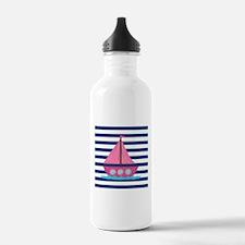 Pink Sailboat Navy Blue Stripes Water Bottle