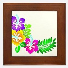 Tropical Hibiscus Framed Tile