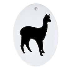 Standing Alpaca Oval Ornament