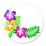 Hibiscus Round Car Magnets