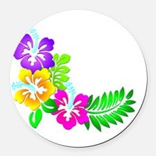 Tropical Hibiscus Round Car Magnet