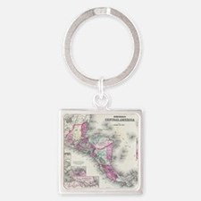 Vintage Map of Central America (18 Square Keychain