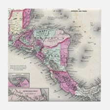 Vintage Map of Central America (1864) Tile Coaster