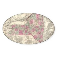 Vintage Map of New York (1864) Decal