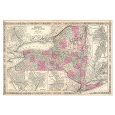 Vintage Map of New York (1864) Poster