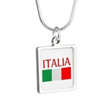 ITALIA FLAG Silver Square Necklace