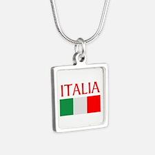 ITALIA FLAG Silver Square Necklace