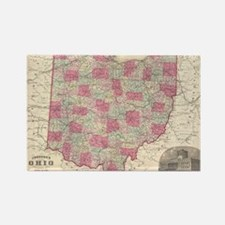 Vintage Map of Ohio (1864) Rectangle Magnet