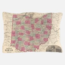 Vintage Map of Ohio (1864) Pillow Case