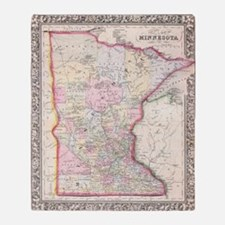 Vintage Map of Minnesota (1864) Throw Blanket