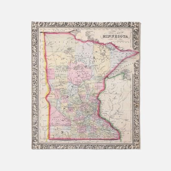 Vintage Map of Minnesota (1864) Throw Blanket