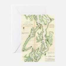 Vintage Map of The Puget Sound (1867 Greeting Card