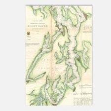 Vintage Map of The Puget  Postcards (Package of 8)