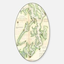 Vintage Map of The Puget Sound (186 Sticker (Oval)