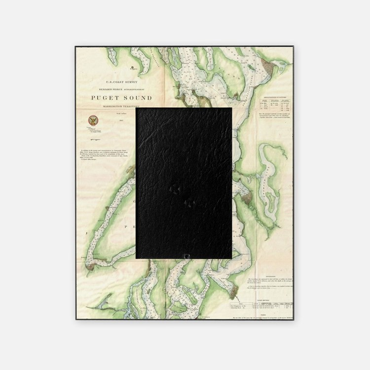 Vintage Map of The Puget Sound (1867 Picture Frame