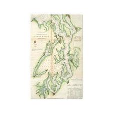 Vintage Map of The Puget Sound (1867) Area Rug