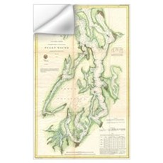 Vintage Map of The Puget Sound (1867) Wall Decal