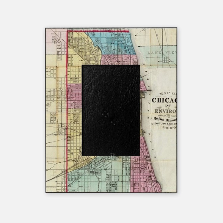Vintage Map of Chicago (1869) Picture Frame