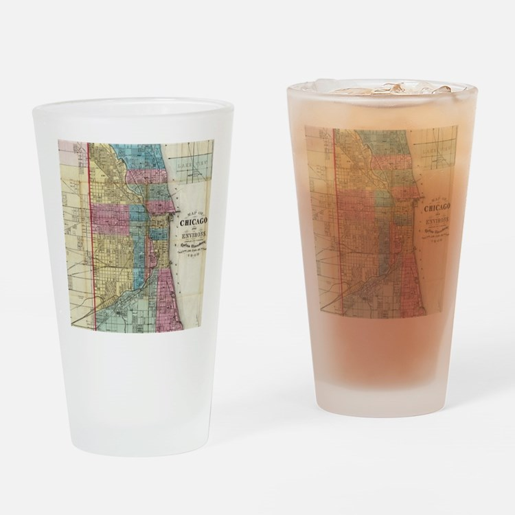 Vintage Map of Chicago (1869) Drinking Glass