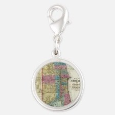 Vintage Map of Chicago (1869) Silver Round Charm