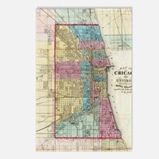 Vintage Map of Chicago (1 Postcards (Package of 8)