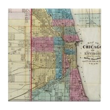 Vintage Map of Chicago (1869) Tile Coaster