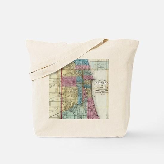 Vintage Map of Chicago (1869) Tote Bag