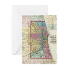 Vintage Map of Chicago (1869) Greeting Card