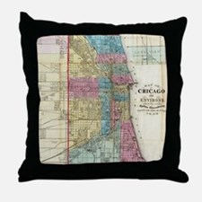 Vintage Map of Chicago (1869) Throw Pillow