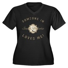 Someone In S Women's Plus Size V-Neck Dark T-Shirt