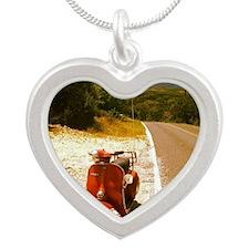 Vespa Rally 200 Texas Roadsi Silver Heart Necklace