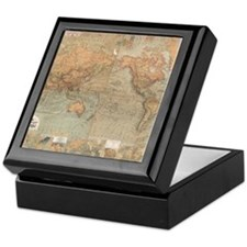 Vintage Map of The World (1870) Keepsake Box