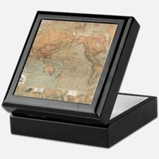 Vintage Map of The World (1870) Keepsake Box