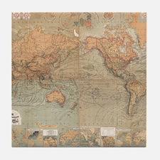 Vintage Map of The World (1870) Tile Coaster
