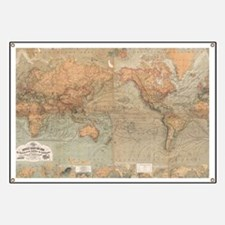 Vintage Map of The World (1870) Banner