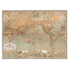 Vintage Map of The World (1870) Canvas Art