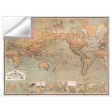 Vintage Map of The World (1870) Wall Decal