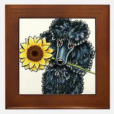Sunny Black Poodle Framed Tile