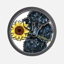 Sunny Black Poodle Wall Clock