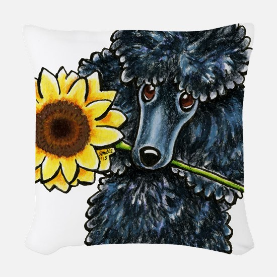 Sunny Black Poodle Woven Throw Pillow
