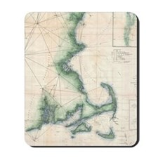 Vintage map of the Massachusetts Coastli Mousepad