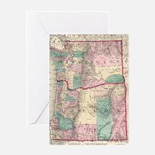 Vintage Map of Washington and Oregon Greeting Card