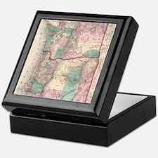 Vintage Map of Washington and Oregon  Keepsake Box