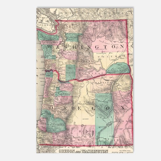 Vintage Map of Washington Postcards (Package of 8)