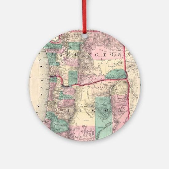 Vintage Map of Washington and Orego Round Ornament