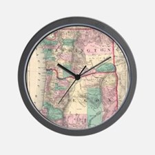 Vintage Map of Washington and Oregon (1 Wall Clock