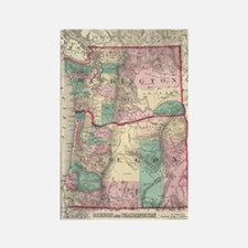 Vintage Map of Washington and Ore Rectangle Magnet