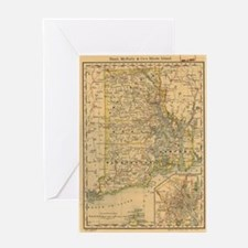 Vintage Map of Rhode Island (1875) Greeting Card