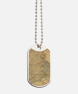 Vintage Map of Rhode Island (1875) Dog Tags