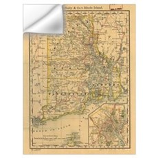 Vintage Map of Rhode Island (1875) Wall Decal